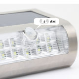 Sensor de movimento PIR de energia solar 9 LEDs Luz de parede Lâmpada sem fio de aço inoxidável