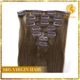 Clip afroamericano en extensiones de cabello natural humano brasileño de la Virgen del pelo