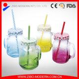 Venta al por mayor Cuadrado de vidrio Mason taza de la taza de 16 oz con mango y paja