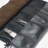 A mão Crafted a caixa de couro preta do rolo do relógio para a manufatura dos homens