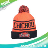 Chapeau/chapeau tricotés par Beanie rayé de l'hiver avec la bille sur le dessus (113)