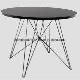 木足の黒の正方形のダイニングテーブルの居間表