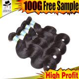 Cheveux humains 100% de Vierge brésilienne magnifique de cheveux humains de Remy de Vierge de vente en gros