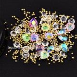 보석함 크리스마스는 섞었다 다이아몬드 모조 다이아몬드 소형 구슬 교차하는 원석 원형 3D 못 예술 반짝임 새로운 결정 못 훈장 (NA14)를