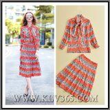 Floral Printed Two-Piece卸し売り秋の最も新しい方法女性スカートスーツ