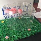 Cadre acrylique en forme de coeur clair de luxe employé couramment de fleur