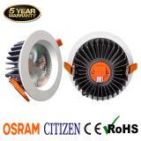 Garantia de 5 anos CRI90 Recessed 15W Citizen COB LED Downlight com Osram Driver