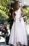V-Ausschnitt Spitze-Abschlussball-Partei-Kleid A - Zeile lange Abend-Kleider Z7019