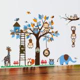 Etiquetas engomadas animales de la pared del bosque de la historieta, etiquetas movibles de la pared del arte del vinilo de los carteles de los murales DIY de la pared para la decoración del sitio de las muchachas de los cabritos