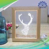 Cadre d'image 3D Deerhorn Visual Voyant DEL de l'illusion de la lampe de décoration de bureau petite lampe de nuit