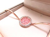 여자를 위한 형식 보석 분홍색 다이아몬드 지르콘 돌 로즈 금에 의하여 도금되는 팔찌