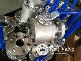 Aço inoxidável forjado engrenagem helicoidal da turbina 3PC Flangeado Válvula de Esfera