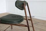 Vintage зеленый цвет кожи с Роуз золотистый цвет нержавеющая сталь Покрытие Armless обеденный стул