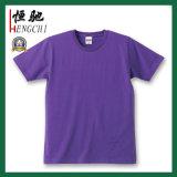 T-shirt rond de collet de coton bleu promotionnel bon marché fait sur commande
