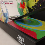 L'acrylique à extrémité élevé de partie supérieure du comptoir de promotion des ventes chausse le présentoir avec le panneau coloré personnalisé de dessin-modèle