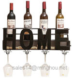 Cremalheira fixada na parede do vinho do metal decorativo Home com suporte de vidro