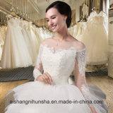 Vestido nupcial do baile de finalistas longo elegante do partido da luva do vestido de casamento do laço