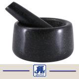 Barato em granito preto Almofariz e pilão para cozinha