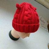 최신 실제적인 모자 모피 방울 술 베레모에 의하여 뜨개질을 하는 아이들의 겨울 모자