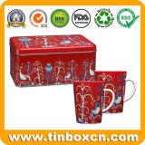 Estaño rectangular de la taza del rectángulo de regalo del metal para el conjunto del regalo de la Navidad