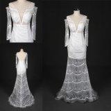 La coutume font à tissu spécial de lacet la longue robe de mariage nuptiale de robe