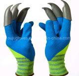Heißer Verkauf übergab Garten-Geist-Handschuhe mit Plastikfingerspitzen