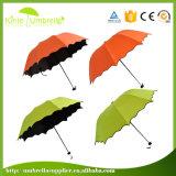 분홍색 잎 모양 3 겹 21inch 승진 우산