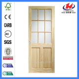 Дверь Tempered стекла твердой древесины дешевого качания нутряная французская