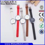 Servicio personalizado de cuarzo Correa de piel moda señoras reloj de pulsera (Wy-085B)