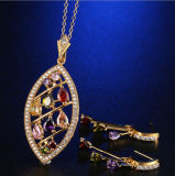 中国の卸し売り宝石類一定カラー立方ジルコンの石のイヤリングのネックレスのローズによってめっきされる方法宝石類