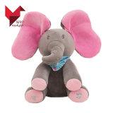 O luxuoso elétrico do elefante brinca o Peek macio uma vaia para o bebê