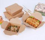 Togliere il contenitore a gettare biodegradabile di carta kraft della casella di pranzo del contenitore di imballaggio dell'alimento