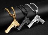 Commerce de gros colliers Fashion Mens garçons main Pistolet de tir au pistolet Collier Pendentif hommes Biker Noir Argent Bijoux Colar Gold-Color Hip Hop