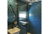 95X110mm Glazed Crystal Dark Blue Glossy Hexagon Porcelain Mosaic Strips for Intrior and Extrior Use