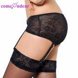 En Stock Plus Size sexy de encaje negro señoras Panty liga