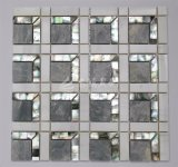 2017新しいデザインシェルの組合せの大理石のガラスモザイク壁のタイル300*300mm