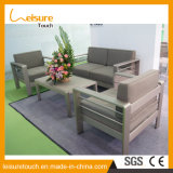 Allwetter- modernes Garten PET Rattan-Ecken-Sofa mit Nizza Kissen-im Freienpatio-Weidenaluminiumhotel-Tisch und Stuhl-Möbeln