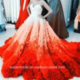 Multi Farben-Brautballkleid-blaue rosafarbene kaskadierenrüsche-Hochzeits-Kleider Y2007