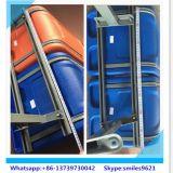 Asiento de autobús de plástico azul con cojín de tela