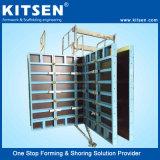 Muro de hormigón encofrado de aluminio para la construcción