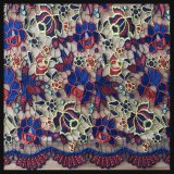Tela Multicolor do laço do bordado do laço da guipura da flor