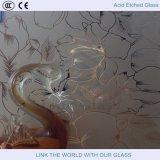 Verre gravé acide 2440 * 3660mm avec gaufrage français avec verre satiné avec verre sablé