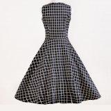 Производство одежды рокабилли черный Клетчатую полный круг женских платьев вечер
