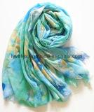 Signora blu Scarf (HWBPS103) di stampa del fiore del poliestere sottile