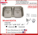 Undermount 50/50 Double Bowl Stainless Steel Kitchen Sink with Cupc Certificate, Handcrafted Sink, Wash Basin