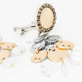 Trendy Ronde Oorringen van de Nagel van de Parel van de Vorm Lange met Geplateerde Juwelen van de Legering van het Kristal de Elegante Goud voor Vrouwen