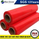 Pellicola di stirata di plastica del PE di LLDPE dell'involucro rosso del pallet
