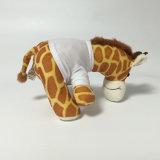 Jouet fait sur commande animal se reposant bourré mou de giraffe enorme de peluche