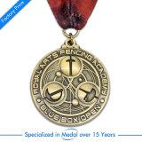 Médaille en gros d'hockey de récompense de l'en cuivre 3D d'OEM avec la lanière