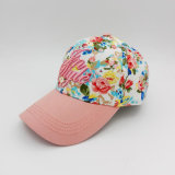 Boné de beisebol cor-de-rosa bordado 3D colorido da borda de Customied da coroa para a senhora